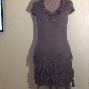 Forlan Paris, brown winter embellish dress # M